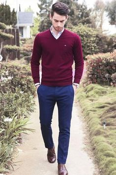 Men's White Dress Shirt, Burgundy V-neck Sweater, Navy Dress Pants, and Dark Brown Leather Oxford Shoes