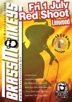 BrassMonkeys Band at the Red Shoot Inn Beer Festival 1 July 2016 Wilson Pickett, Kings Of Leon, Lenny Kravitz, Beer Festival, James Brown, Green Day, Rock And Roll, Posters, Adventure