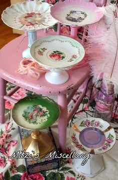 Plate pedestals from flea market finds, vintage dishes. Could use as candy dish centerpieces.