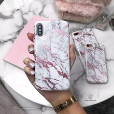 White Marble Pink Chrome iPhone Case