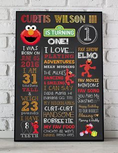 Elmo Birthday Poster Sesame Street Birthday Sign First Second Elmo First Birthday, 1 Year Old Birthday Party, 1st Birthday Signs, 1st Birthday Chalkboard, First Birthday Posters, Boy Birthday Parties, Birthday Ideas, Snoopy Birthday, Kid Parties
