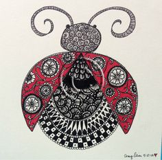 Original 6x6 Intricately Embellished Ladybug Drawing by inamyshead, $45.00