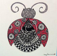 Original 6x6 Intricately Embellished Ladybug Drawing by inamyshead, $45.00