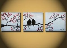 Love Birds huge 36 x 12 Acrylic painting canvas gallery by OritArt