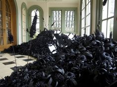 Black Paper Flowers Creating a Landscape // Lauren Fensterstock