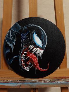 Marvel Drawings, Art Drawings Sketches, Diy Canvas Art, Acrylic Painting Canvas, Venom Art, Horror Artwork, Cute Paintings, Original Art, Ideas