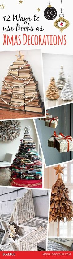 12 ways book lovers can add some bookish holiday cheer to their home decor.