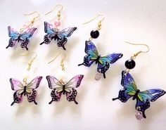 Chimachima shop: ☆ butterfly-san and Prabang earrings ☆ Wire Crafts, Resin Crafts, Jewelry Crafts, Easy Crafts, Diy And Crafts, Resin Jewelry Molds, Fairy Lanterns, Epoxy Resin Art, Shrinky Dinks