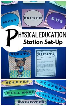 Physical Education Stations - Fitness and Exercise Activities Fine Motor Activities For Kids, Exercise Activities, Fitness Activities, Sensory Activities, Therapy Activities, Infant Activities, Therapy Ideas, Sensory Play, Physical Therapy Exercises