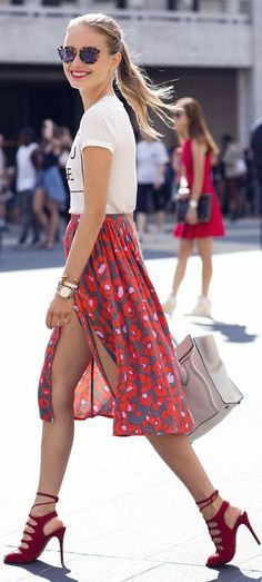 Front Slit Floral Midi Skirt by The Simply Luxurious Life. Love the shoes too.. :)