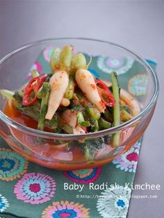 Baby Radish Kimchi. (Find a Korean grocery store and buy it)