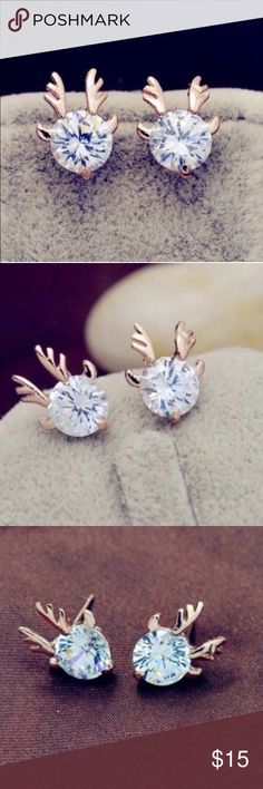 Antler stud earrings Brand new rose gold toned clear crystal stud earrings. Bundle and save! Get 15% off when you buy 3 items! Jewelry Earrings