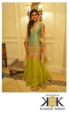 Kamiar Rokni - great for your mehandi Pakistani Bridal Wear, Pakistani Wedding Dresses, Pakistani Outfits, Indian Dresses, Indian Outfits, Bridal Dresses, Eid Dresses, Ethnic Fashion, Asian Fashion