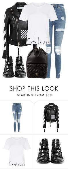 """""""Untitled #3029"""" by elenaday on Polyvore featuring Topshop, Off-White, Calvin Klein, Givenchy and Chanel"""
