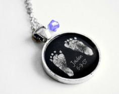 Mother's Necklace - Your Baby's ACTUAL Footprints Keepsake Necklace - Child's Footprints - Mother's Day Jewelry - New Mom - Mommy Necklace