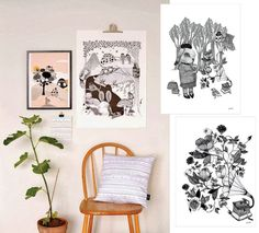 Feast your eyes on these beautiful posters for little rooms. Every child's room should have some nice art and these fun prints are a great addition. Precious Little Things has a whole range of posters with an assortment of colors...