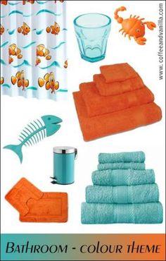 Aqua Blue and Orange Bathroom - Kids Room Ideas Bathroom Colors Blue, Orange Bathrooms, Orange Bathroom Decor, Aqua Bathroom, Bathroom Layout, Bathroom Designs, Bathroom Interior, Aqua Blue, Teal Orange