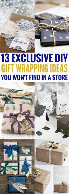 DIY Gift Wrapping Ideas that simply gorgeous! Find creative gift wrapping ideas and tutorials for birthdays and other special occasions. So GLAD to have found this list!