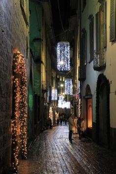 Lovely street all ready for Christmas in Bergamo, Italy