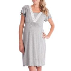 1282c0f30745d Maternity Dresses - Dresskaifongfu Womens Mother Lace Pregnants  Breastfeeding Dress Casual Nursing Baby for Maternity Pajamas Dress M Gray  * You can get ...
