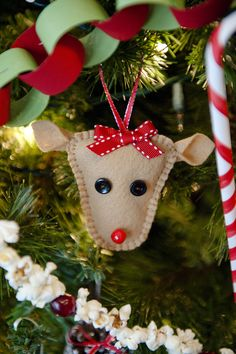 Homemade Christmas felt raindeer, pop corn garland, paper chain and paper candy cane...much more. MEANINGFUL  Christmas...great for when kids are grown an out and mom and dad are home alone missing them...