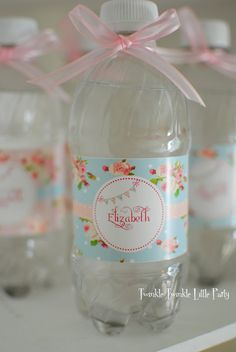Blue Floral Shabby Chic Water Bottle Labels by twinklelittleparty