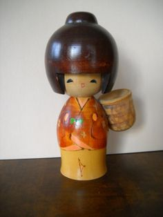Vintage Hand Painted Wood Japanese Kokeshi Doll with Basket