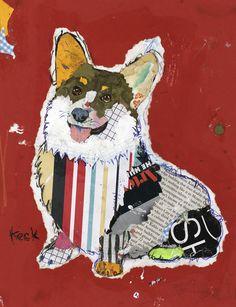 dog art, pop dog art, dog art collage, pembroke welsh corgi art, corgi abstract art, welsh corgi collage