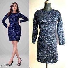 Dresses Fancy Women Sequin Dresses Fabric: Velvet Sizes: XL (Bust Size: 42 in)  L (Bust Size: 40 in)  M (Bust Size: 38 in)  Country of Origin: India Sizes Available: XS, S, M, L, XL, XXL   Catalog Rating: ★4.2 (507)  Catalog Name: Fancy Designer Women Dresses CatalogID_2999464 C79-SC1025 Code: 717-15060211-4491