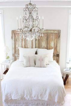 Beautiful and Romantic <3   p.s. absolutely adore the old farm house doors for a headboard! Too fem for my husband but maybe for a daughters bedroom....someday?