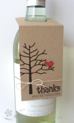 I am so going to make some of these for the shop for the Holidays! Or at least I will add it to my list of things to do. thanks wine tag by Therese Calvird Wine Bottle Tags, Wine Tags, Wine Bottle Crafts, Handmade Tags, Wine Gifts, Thank You Gifts, Homemade Cards, Creations, Card Making