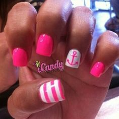 Nautical theme but with hot pink and white.