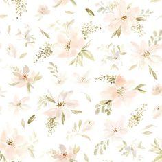 Papier Peint Aquarelle Grandes Fleurs Rose Orangée