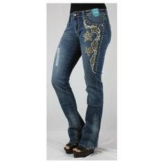 Jeans with studded design. Comfortable fit and style. Endless Xpressions by GFV.