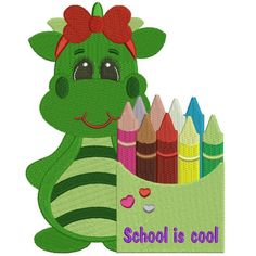 Little Girl Dino Going To School Filled Machine Embroidery Digitized Design Pattern #school #embroidery #applique #dino