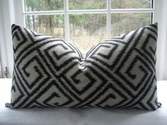 BOTH SIDES- IKAT Lumbars and Throws 12x22-14x20-16x16 and more --Decorative Pillow Cover----Designer Fabric,-Black Pillow--Ivory--Black
