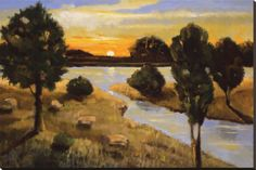 A Day Ending at the Lake Stretched Canvas Print by Judith D'Agostino at AllPosters.com 54 x 36