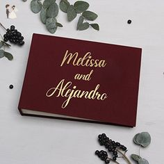 Wedding Instant Guestbook Marsala with Gold Lettering Pocket Sign in Book- by Liumy - Groom fashion accessories (*Amazon Partner-Link)