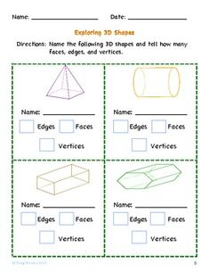 Printables Two Dimensional Shapes Worksheets 3d shape worksheets 1 properties of shapes cube and cuboid 5th grade geometry classify two dimensional figures into categories based