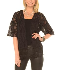 Look what I found on #zulily! Black Lace Fringe-Trimmed Open Cardigan - Plus #zulilyfinds