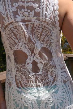 NEW Candy Skull Crochet Back Boho Tank Top - BeIge or Pink Lace Tank NEW on Etsy, $36.00   But in black. @MMM