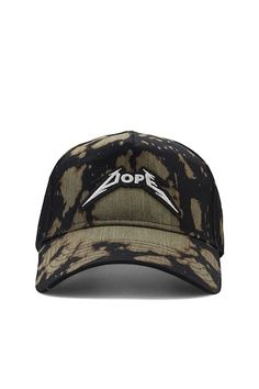 """A bleach-dyed cap by Dope™ featuring an embroidered front patch with the """"Dope"""" logo and an adjustable back."""