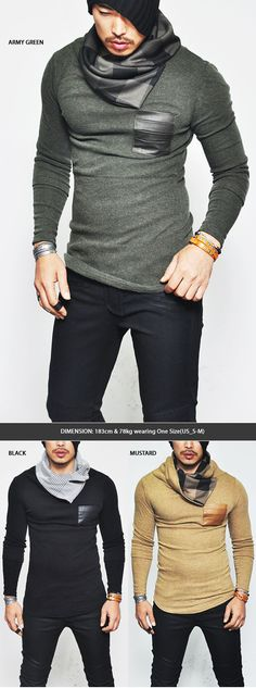 Tops :: Knits :: Turn-up Check Shirring Turtle Leather Pocket-Knit 77 - Mens Fashion Clothing For An Attractive Guy Look