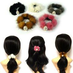 Real Mink Fur Pom Pom Pearl Elastic Ponytail Holder Scrunchie Hair Tie Band Ring #Jacc #Scrunchies #WinterSeason
