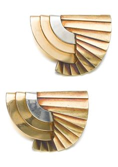 René Boivin - A pair of Art Deco gold clips, 'Manchettes Plissées', circa 1935. Each of geometric design, mounted in three coloured gold, unsigned, French assay and maker's marks. #Boivin #ArtDeco #clips