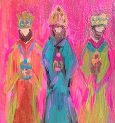 The three wise men painted on 5 1/2 x 8 wood block by CtCpaint