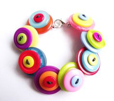 Button bracelet, bright, rainbow, quirky, handmade, funky, multi colour, uk, on Etsy, $12.64