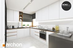projekt Dom w santolinach Wizualizacja kuchni 1 widok 1