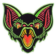Looks like you're in for some Bat Trouble! This amazing patch, by Ghoul Trouble, features a toothy bat embroidered in black with neon green, pink and yellow. Iron on backing makes it easy to apply to your favorite jacket, vest or bag for a little Cool Patches, Pin And Patches, Iron On Patches, Punk Baby, Punk Rock Outfits, Emo Outfits, Sourpuss Clothing, Emo Dresses, Party Dresses