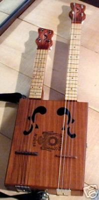 """The Fabulous Double Neck Cigar Box Ukulele designed and built in the U.S.A. by Russ Kemner """"Sonny Daze Musical Instruments"""""""